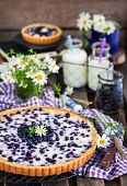 Fresh Homemade Creamy Blueberry Tart (open Pie) On Rustic Background poster