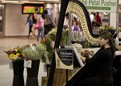 NEW YORK-JUL 28: Harpist Emily Hopkins performs in Penn Station while commuters walk by on July 28,