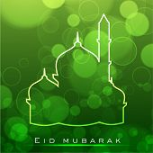 picture of kaba  - Beautiful greeting card for Eid Mubarak festival with shiny Mosque and Masjid image - JPG