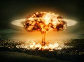 stock photo of striking  - Explosion of nuclear bomb over city - JPG