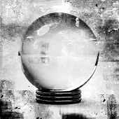 pic of witch ball  - crystal ball in grunge style illustrations for future prediction concepts - JPG