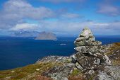 picture of lofoten  - Scenic view of norwegian Lofoten islands from cliff tops of Vaeroy island - JPG