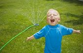 picture of sprinkler  - Young boy playing in the sprinklers outdoors - JPG