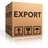 foto of export  - export package or exporting cargo for global and international trade worldwide business cardboard box with text and reflection exportation logistics - JPG