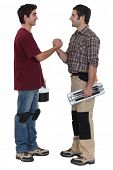 picture of pipefitter  - Two decorators greeting each other - JPG