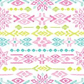 image of aztec  - Seamless bright colorful aztec vintage folklore background pattern in vector - JPG