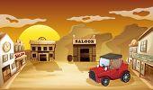 Постер, плакат: Иллюстрация красный jeepney вне салона