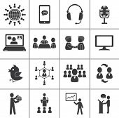 stock photo of speaker  - Set of communication icons - JPG