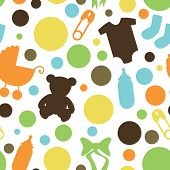 stock photo of alligator baby  - Boy Themed Seamless Baby Background or Pattern - JPG