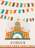 stock photo of cupola  - Retro circus poster with a big top - JPG