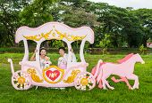 stock photo of mating bears  - Asian Thai bridal with the wedding teddy bear in romantic carriage with love theme as the Prince and Princess - JPG
