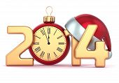 Happy New Year 2014 alarm clock Santa hat Christmas ball decoration holidays ornament