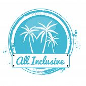 image of all-inclusive  - Stamp All inclusive with Palm tree in blue - JPG