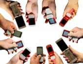 pic of mobile-phone  - Many hands holding a mobile phones on white - JPG