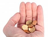 Hand With Copper Coins Isolated