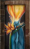 Street Art - Open Door Art - Blue Flames