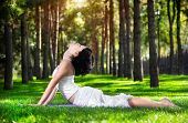 stock photo of prone  - Yoga bhujangasana cobra pose by woman in white costume on green grass in the park around pine trees - JPG