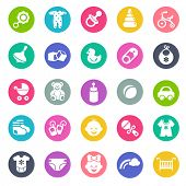 image of flat-bed  - Baby icon set - JPG
