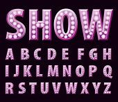 picture of grammar  - vector purple entertainment letters with bulb lamps  - JPG