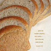 image of bible verses  - Slices of nourishing wheat bread illustrate words taken from the Old Testament  - JPG