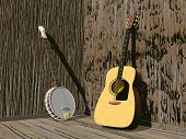 stock photo of banjo  - One banjo and guitar in a room of brown wood - JPG