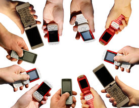 image of mobile-phone  - Many hands holding a mobile phones on white - JPG