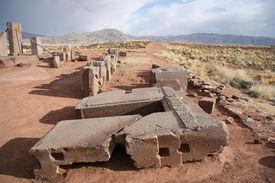 stock photo of pumapunku  - Ruins of Megalithic stone complex Puma Punku - JPG