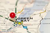 Green Bay City Pin On The Map poster