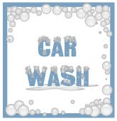 image of car wash  - car wash poster covered in soap bubbles illustration - JPG