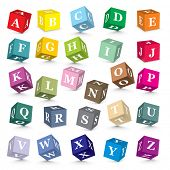 stock photo of alphabet  - Alphabet written with blocks  - JPG