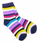 pic of stocking-foot  - colorful cotton socks isolated on white background - JPG