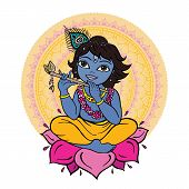 stock photo of lakshmi  - Hindu God Krishna - JPG