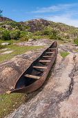 stock photo of dauphin  - Traditional fishing canoe in Fort Dauphin  - JPG