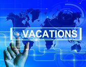 image of sabbatical  - Vacations Map Displaying Internet Planning or Worldwide Vacation Travel - JPG