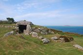 stock photo of burial  - view of ancient burial chamber on the Isles of Scilly - JPG