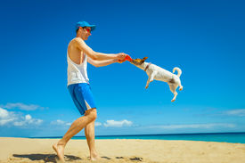 foto of frisbee  - dog catching a red frisbee with owner playing together - JPG