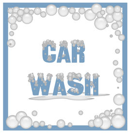 picture of car wash  - car wash poster covered in soap bubbles illustration - JPG