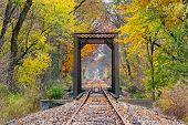 stock photo of trestle bridge  - Railroad tracks cross a trestle surrounded by trees with colorful fall foliage - JPG