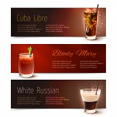 stock photo of bloody  - Cuba Libre Bloody Mary White Russian cocktails horizontal banner set isolated vector illustration - JPG