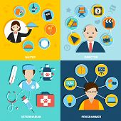 image of programmers  - People professions flat icons set with waiter director veterinarian programmer isolated vector illustration - JPG