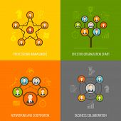 foto of hierarchy  - Connected people social network human hierarchy and communication concept flat icons set isolated vector illustration - JPG