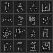 stock photo of frappe  - Coffee icons outline set with croissant turk coffee - JPG