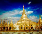 pic of yangon  - Vintage retro effect filtered hipster style image of Myanmer famous sacred place and tourist attraction landmark  - JPG