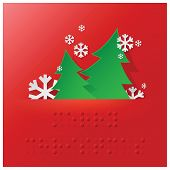 stock photo of braille  - Braille Alphabet Christmas Background Banner With Paper Graphic Style - JPG