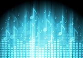 image of equality  - Blue music background with equalizer and notes - JPG