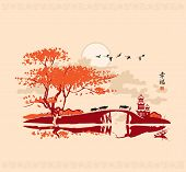 picture of bridge  - Chinese landscape with pagoda bridge and the frame of birds at sunset - JPG