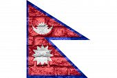pic of nepali  - Nepali flag or banner of Nepal on brick texture background - JPG