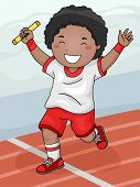 stock photo of relay  - Illustration Featuring a Boy Winning the Relay Race for His Team - JPG