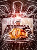 pic of she-male  - Funny chef overlooked roast chicken in the oven - JPG