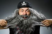 image of long beard  - Funny pirate with long beard - JPG